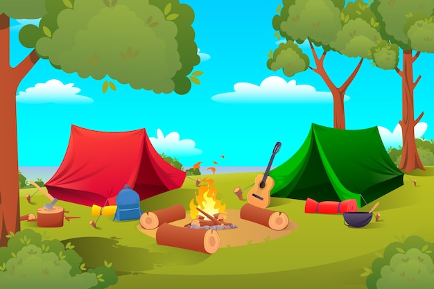 Cartoon camping, hiking equipment tents, tools
