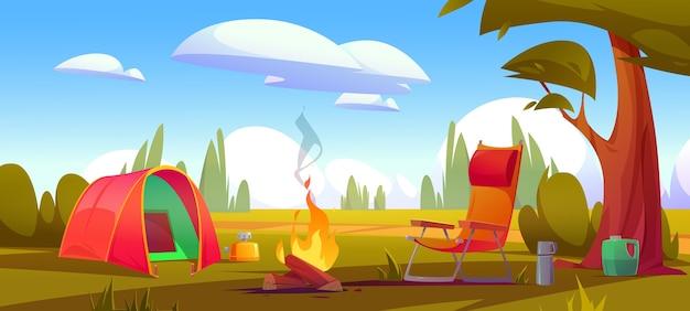 漫画のキャンプの夏の風景 無料ベクター