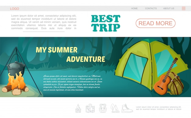 Cartoon camping web page template with navigation menu tent guitar backpack and pot on fire