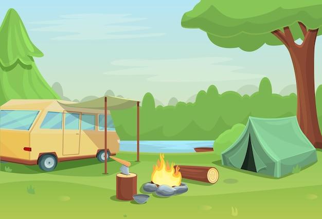 자연 속에서 모닥불 텐트와 자동차 캠핑 만화