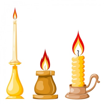 Cartoon of a candle, set of yellow candles with flames in cartoon style.