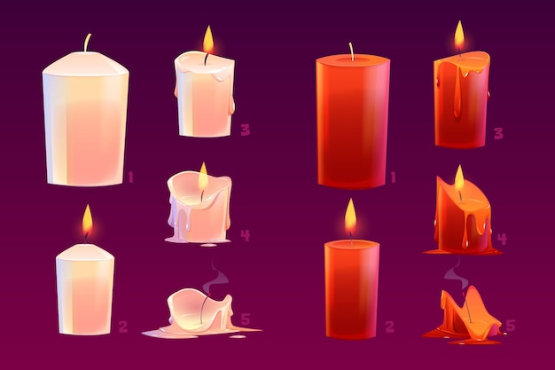 Cartoon candles burning motion sequence animation glowing and extinct lights with melted wax.