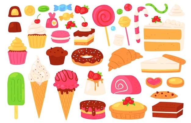 Мультфильм конфеты и сладости. кексы, мороженое, леденцы, шоколадные и желейные конфеты, бисквитная выпечка и торты. кондитерские изделия векторный набор кекс десерт, еда пончик вкусные иллюстрации