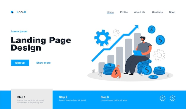 Cartoon capital growth and cash profits metaphor landing page in flat style