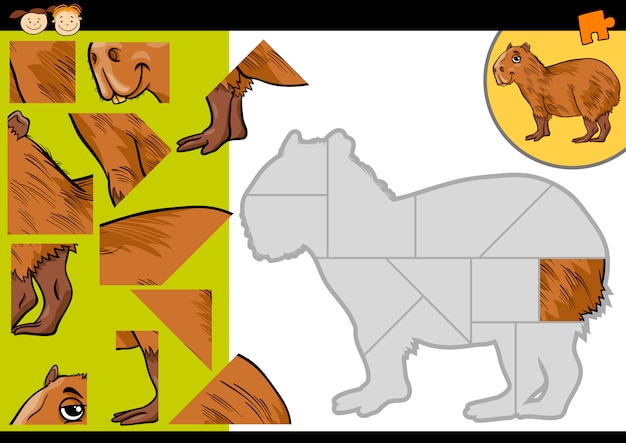 Cartoon capybara jigsaw puzzle game
