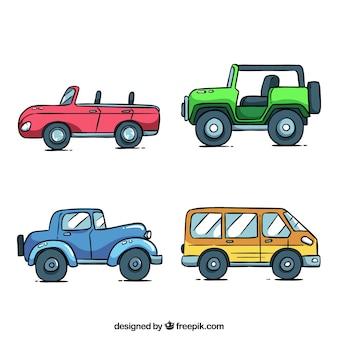 Collezione di auto di cartone animato con vista laterale