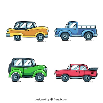 Cartoon car collection with side view