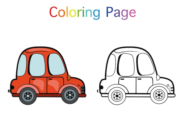 어린이를 위한 만화 자동차 색칠 공부 페이지 활동