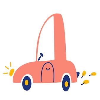 만화 자동차입니다. 귀여운 분홍색 승용차를 손으로 그립니다. 벡터 일러스트 레이 션