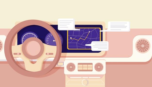Cartoon car navigation cockpit info smart driving assistance   illustration