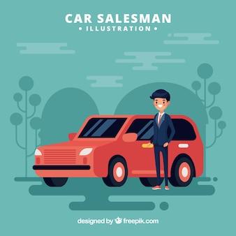 Cartoon car salesman design