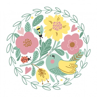 Cartoon card with cute bird