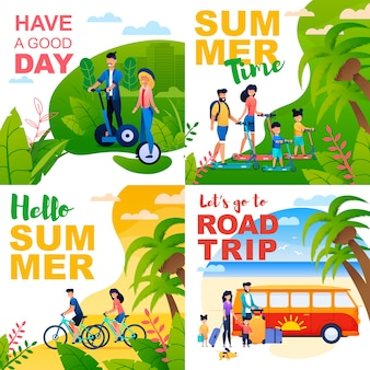 Cartoon cards set with summer motivate quotes