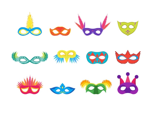 만화 카니발 마스크 색상 아이콘은 가장 무도회, 축하 파티 또는 휴일을 위한 평면 스타일 디자인 요소를 설정합니다. 벡터 일러스트 레이 션