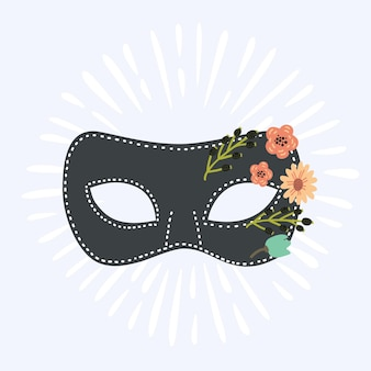 花で飾られた漫画のカーニバルマスカードマスク