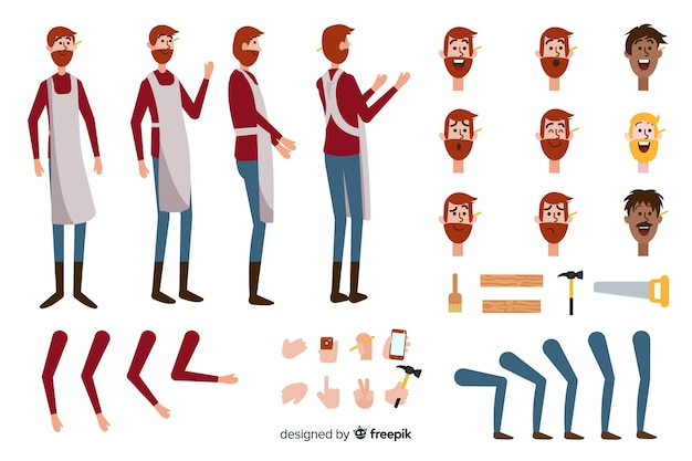 Cartoon carpenter boy character template