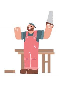 Cartoon carpenter, vector