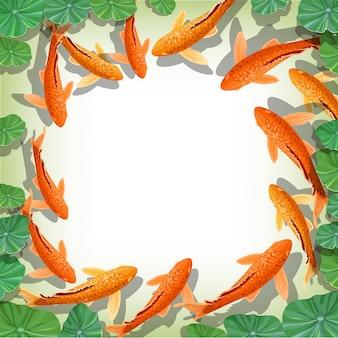 Cartoon carps koi fish frame