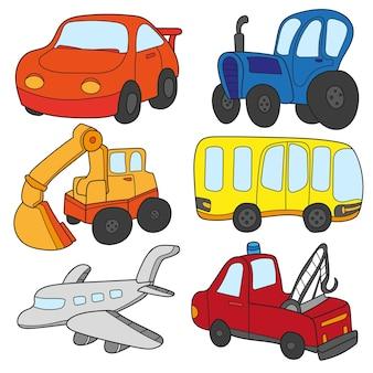 漫画の車のコレクション。漫画の車のコレクション。車、トラック、バス、プレーンの交通テーマのベクトル。白い背景で隔離のキュートでカラフルなアイコンコレクションのセット
