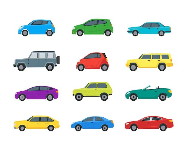 만화 자동차 색상 아이콘 세트 흰색 배경에 고립 해치백, 유니버설 및 세단입니다. 벡터 일러스트 레이 션