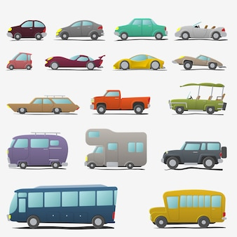 Cartoon cars set isolated