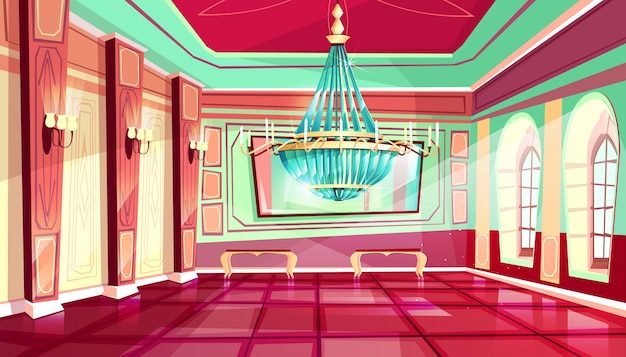 Cartoon castle palace ballroom interior background with royal furniture