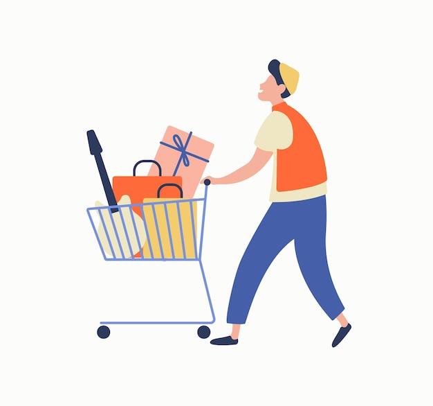 Мультфильм случайный человек, несущий кучу товаров на тележке во время большой продажи векторной плоской иллюстрации. красочный мужской шопоголик, наслаждаясь продажей, изолированной на белом. радостный покупатель парень с покупкой.