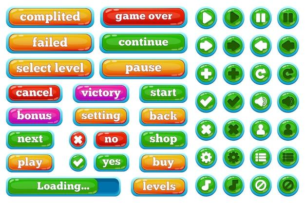 만화 캐주얼 비디오 게임 사용자 인터페이스 버튼입니다. 캐주얼 2d 게임 인터페이스 재생, 일시 중지, 중지, 게임 오버 버튼 벡터 일러스트레이션 세트. 모바일 게임 사용자 인터페이스 버튼