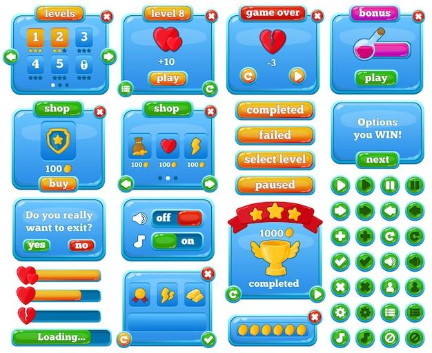 만화 캐주얼 웹 모바일 게임 메뉴 인터페이스. 게임 gui 인터페이스, 모바일 캐주얼 게임 사용자 메뉴 요소 벡터 그림 세트. 비디오 게임 인터페이스 버튼 및 바