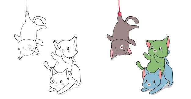 子供のための漫画の猫と友達の着色のページ