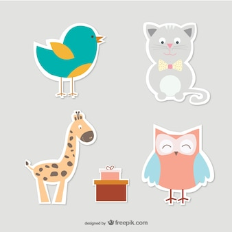 Cartoon cat, bird, owl and giraffe