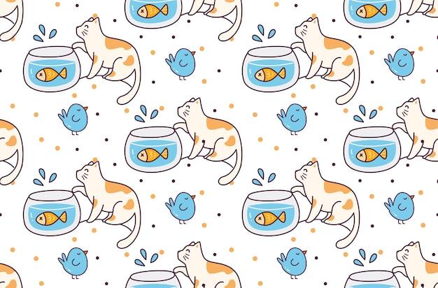 Cartoon cat and bird seamless pattern