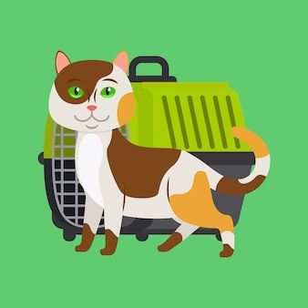 Cartoon cat and carrier
