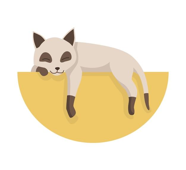 漫画の猫のキャラクター。シャムカラーポイントペット。愛らしい飼い猫が眠っています。面白い幸せで遊び心のある動物。かわいい2色の子猫。