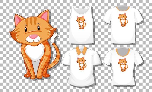 Personaggio dei cartoni animati di gatto con set di camicie diverse isolate