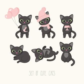 Коллекция персонажей мультфильмов кошек в разных позах. векторная иллюстрация для открытки, баннера, интернета, декора, дизайна, искусства, календаря.