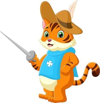 칼을 들고 모자를 쓰고 만화 고양이
