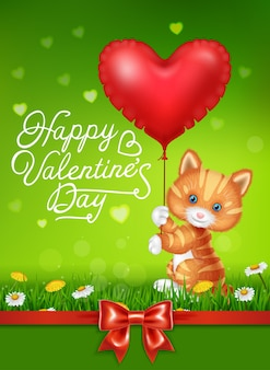Cartoon cat holding red heart balloons with red satin ribbon
