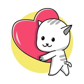 Мультфильм кошка держит красное сердце