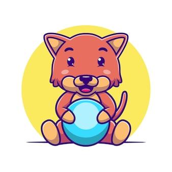 Мультяшный кот обнимает мяч
