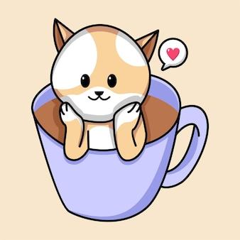 コーヒーカップの漫画の猫