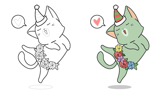 Cartoon cat is dancing coloring page for kids