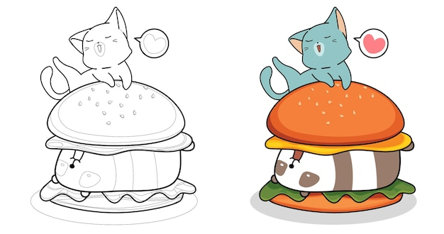 Cartoon cat is eating big burger coloring page for kids