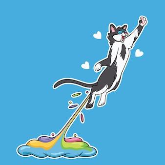Мультяшный кот прыгает в милом стиле с радужным дымом