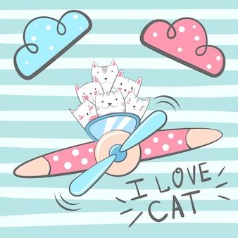 Cartoon cat, kitty characters. Airplane illustration