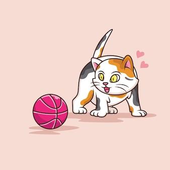 만화 고양이는 재미있는 표정으로 공을보고 싶어합니다.