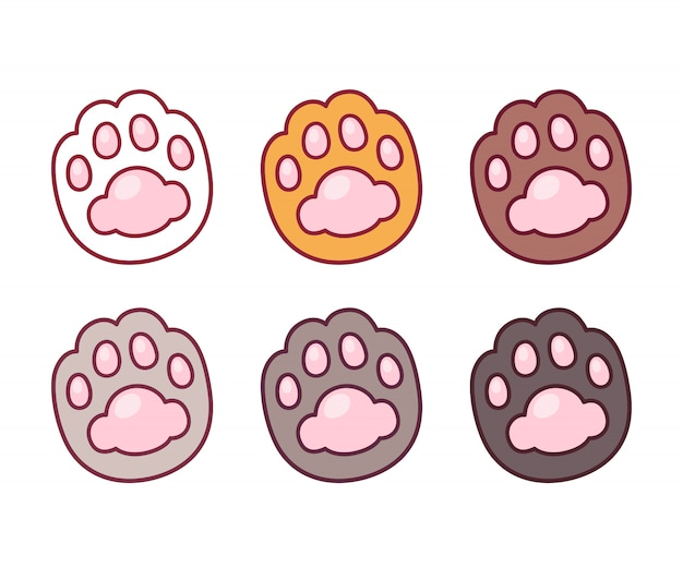 Cartoon cat paw set