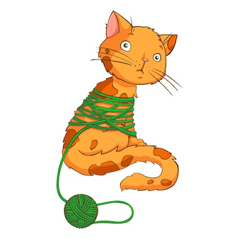 고립 된 스레드를 가지고 노는 만화 고양이