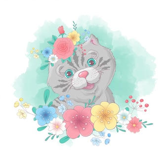 Cartoon cat portrait with a wreath of wildflowers hand drawing.   illustration