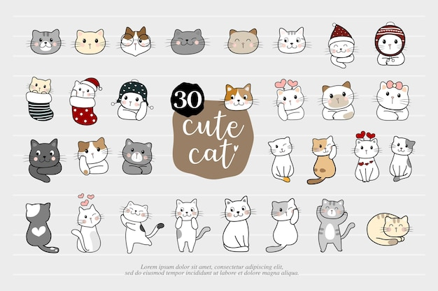Cartoon cat set with emotions and different poses. cat behavior, 30 body language and face expressions. cats simple cute style. vector illustration